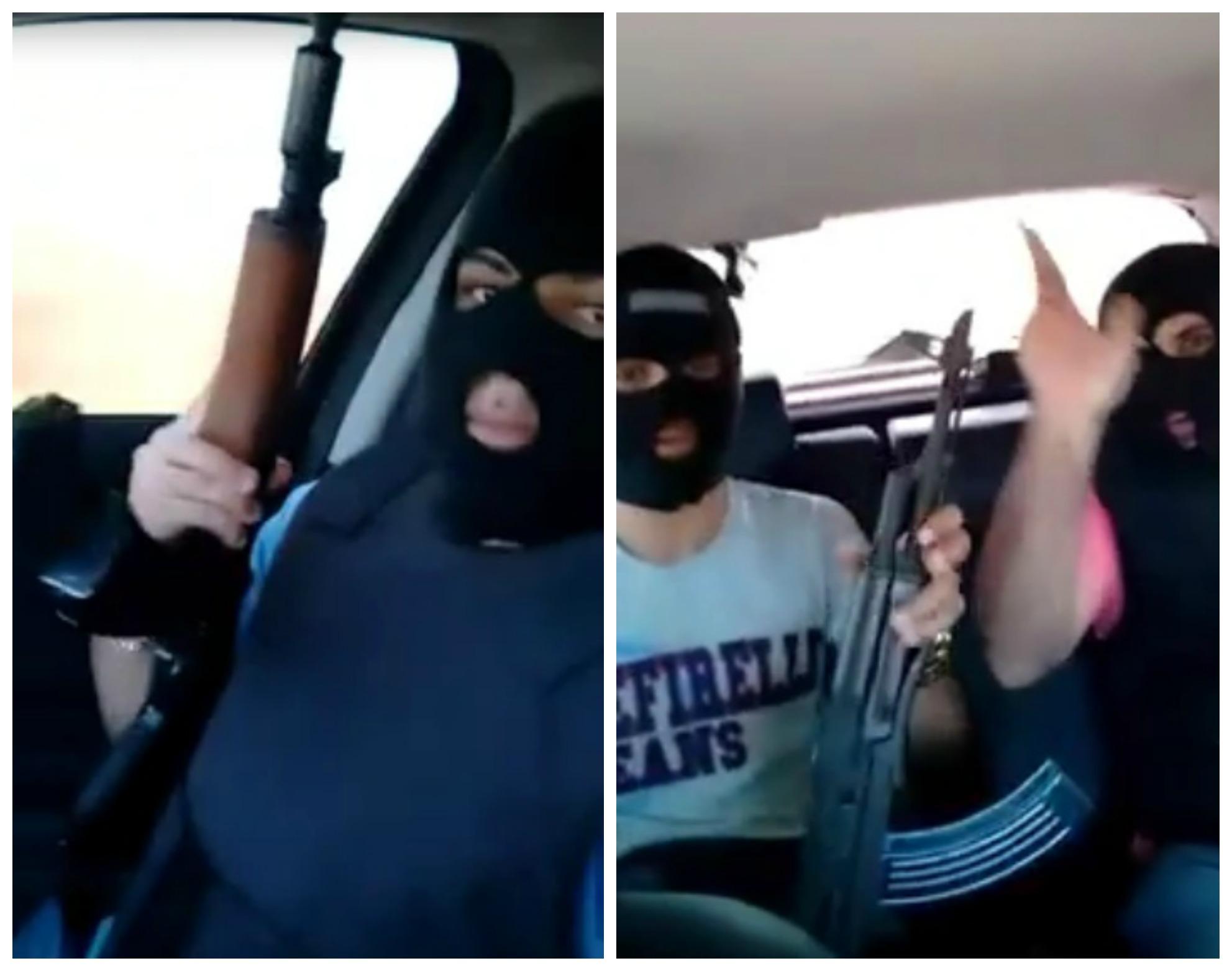 Os homens exibem armas de grosso calibre enquanto dirigem pela estrada. (FOTO: Reprodução)