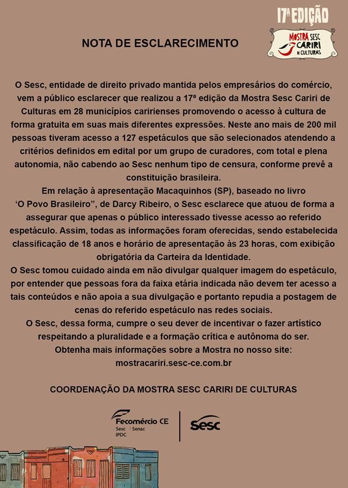 O Sesc Ceará emitiu uma nota diante da repercussão sobre a intervenção cultural (Foto: Reprodução)