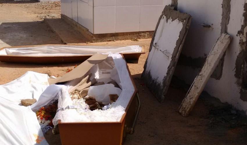 Corpo fora do túmulo e com sinais de agressão é encontrado em cemitério de Guaiúba