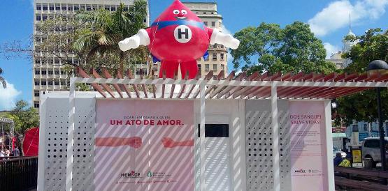 O posto de doações da Praça do Ferreira irá funcionar até o dia 30 de janeiro. (FOTO: Reprodução/Hemoce)