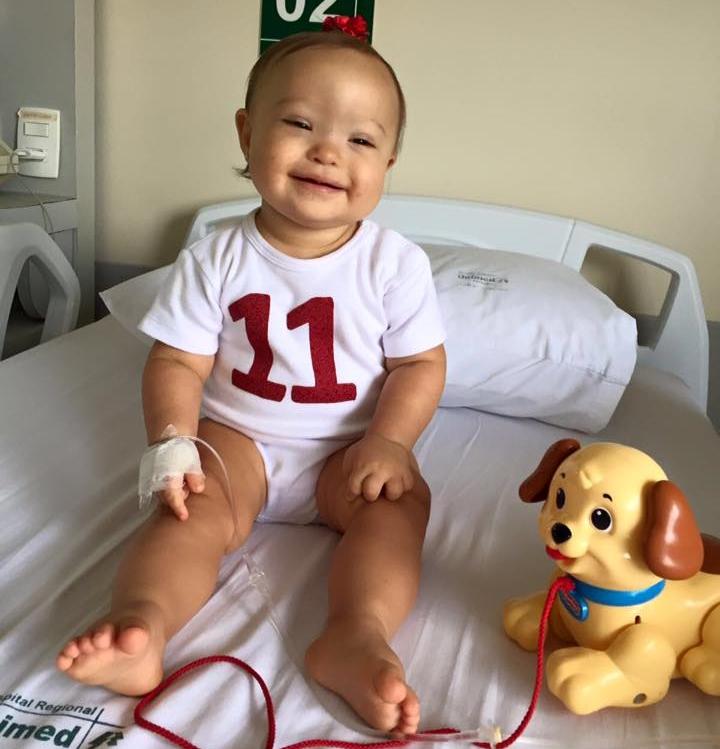 Campanha pede doação de plaquetas para bebê de 11 meses com leucemia
