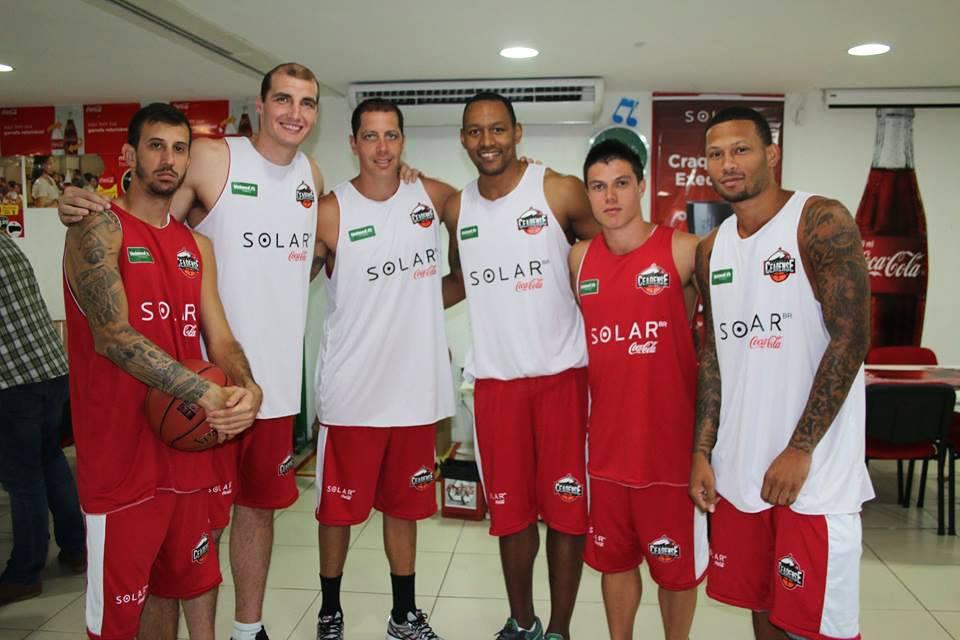 Duda, Leozão, Toledo, Davi e Rashaun farão parte do elenco do Basquete Cearense no NBB8 (Foto: divulgação)