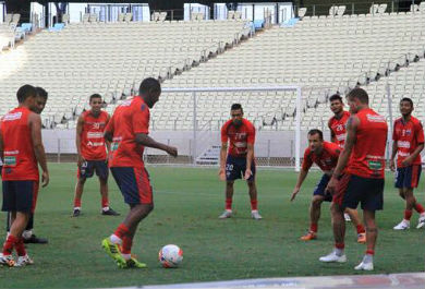 O elenco treina de forma secreta para o duelo decisivo (Foto: Divulgação/Fortaleza EC)