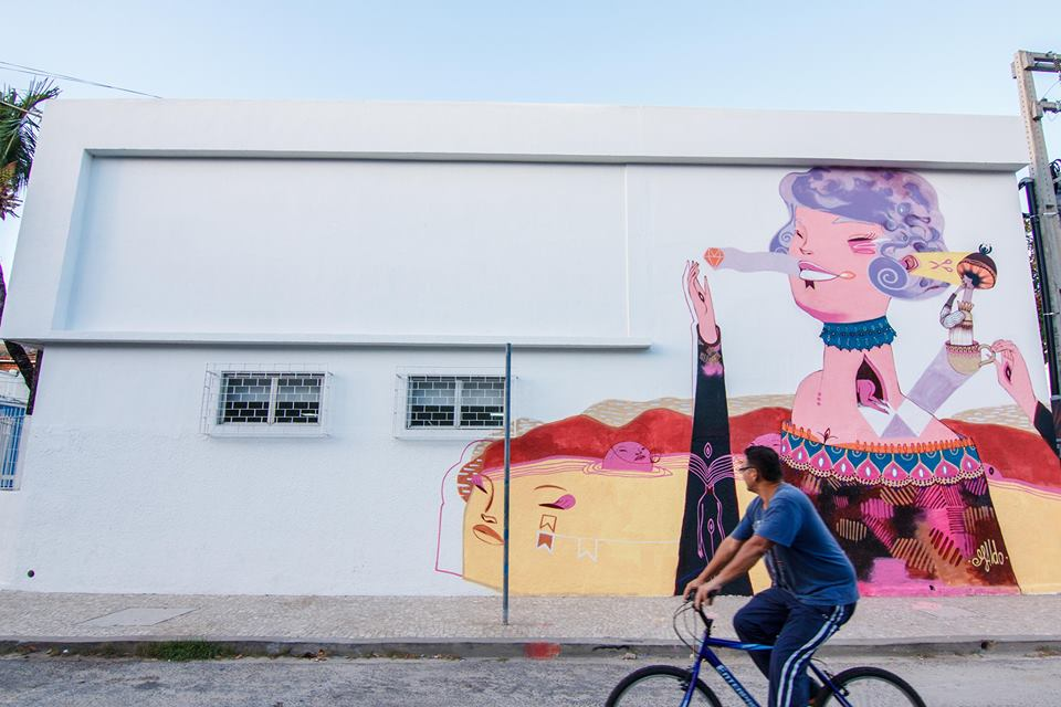 Os muros do Porto Iracema das Artes receberam intervenções artísticas na 1ª edição do Festival Concreto, em 2013. A arte é do artista maranhense Naldo (FOTO: 1Bando)