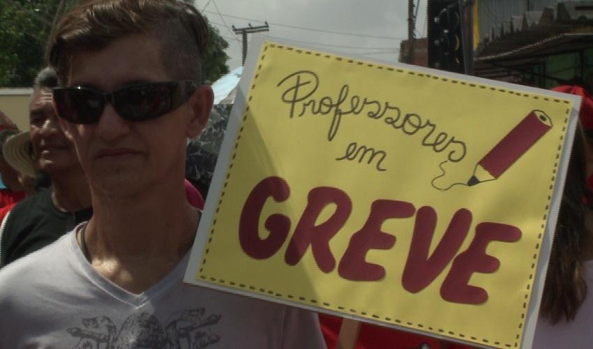 Professores das escolas municipais estão com os braços cruzados (FOTO: Reprodução TV Jangadeiro)