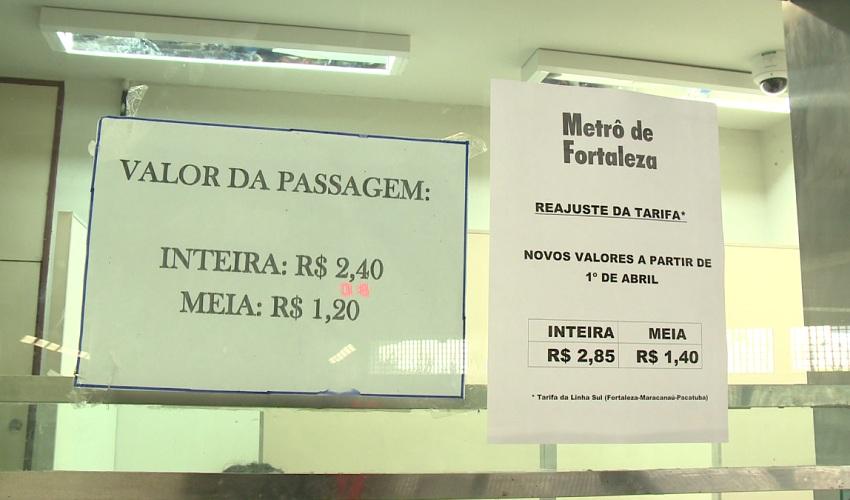 Metrô de Fortaleza vai ficar mais caro a partir desta sexta-feira (FOTO: Reprodução TV Jangadeiro)