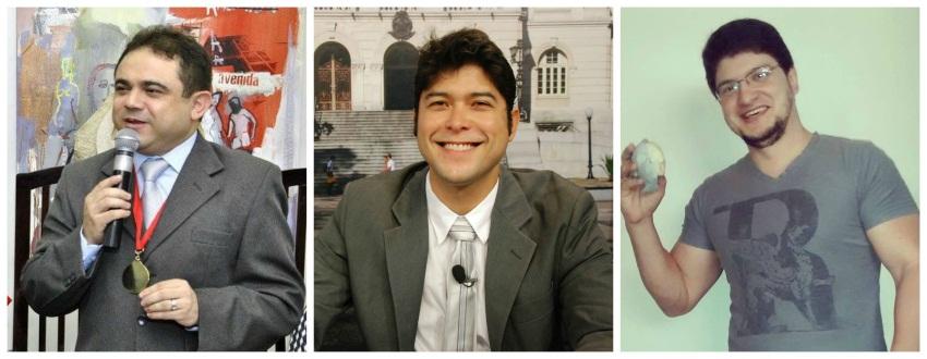 Na imagem, a equipe responsável pela reconstituição: à esquerda, o cearense José Lira, no meio o especialista em odontologia legal Paulo Miamoto e à direita o designer Cícero Moraes. (FOTO: Arquivo pessoal)