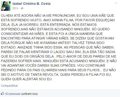 No Facebook, mãe da universitária deixou uma recado para todas as mães (FOTO: Reprodução/Facebook)