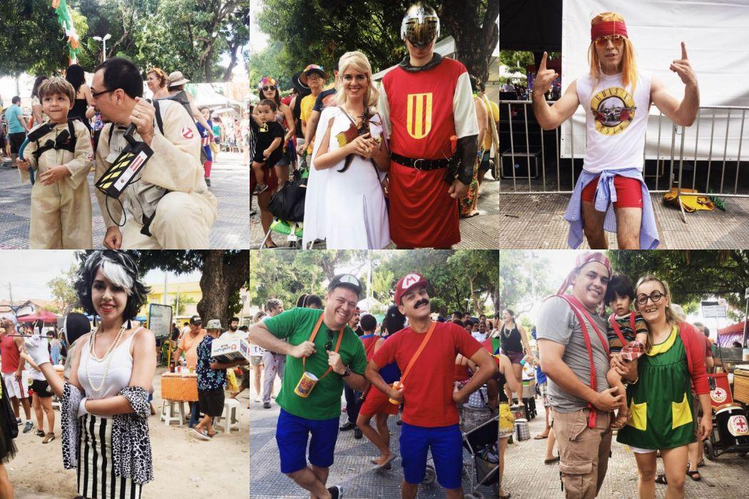 Os foliões apostaram em fantasias criativas para curtir o carnaval diurno de Fortaleza. (FOTO: Juliana Teófilo/Tribuna do Ceará)
