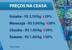 Frutas e verduras ficam cada vez mais caras na Ceasa. (FOTO: Reprodução TV Jangadeiro)