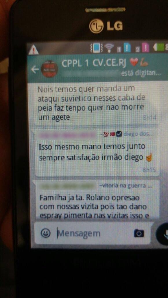 Conversa do Whatsapp entre membros do Comando Vermelho do Ceará e do Rio de Janeiro (FOTO: Tribuna do Ceará )