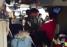 Criança foi levada de helicóptero para hospital em Fortaleza (FOTO: Reprodução Vídeo)