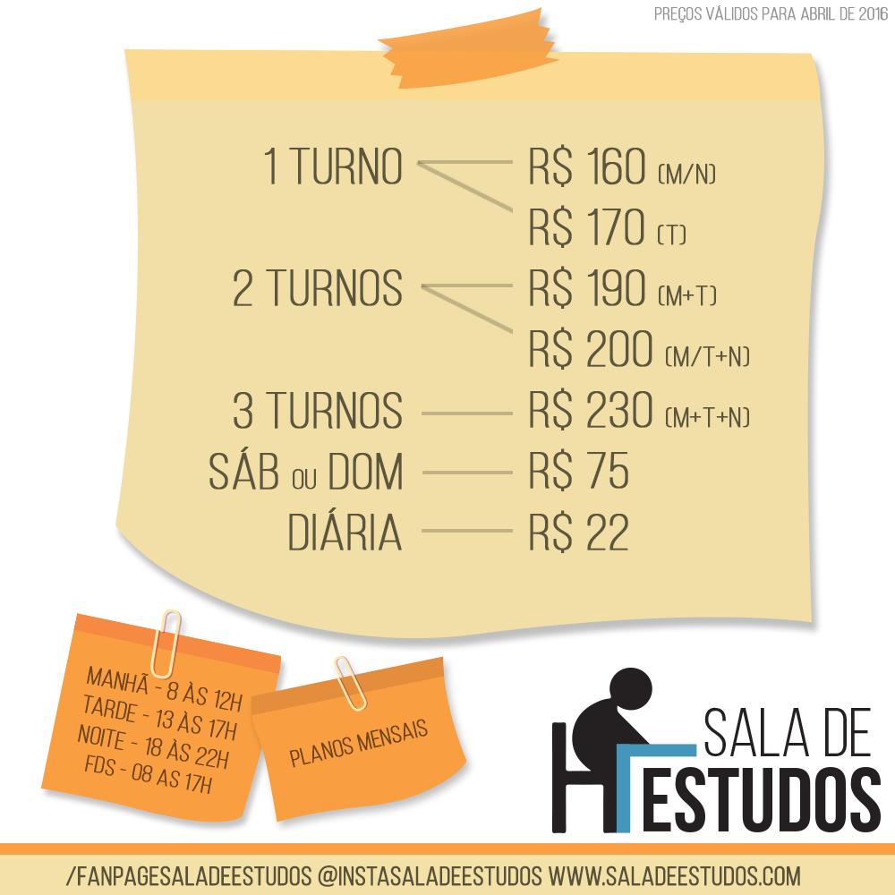 Tabela de preços Sala de Estudos (FOTO: Divulgação)