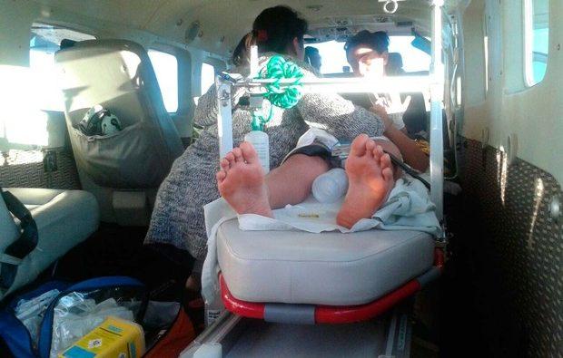 Guilherme foi levado em aeronave da PM da Bahia. (FOTO: Divulgação/ Graer)