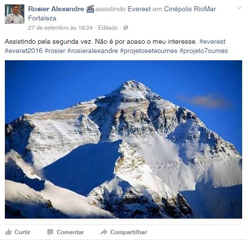 Rosier já acompanhou duas vezes o filme Everest (Foto: reprodução/Facebook)