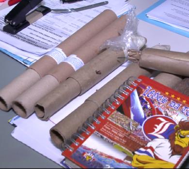 Jovem foi preso com artefatos explosivos (FOTO: Reprodução TV Jangadeiro)